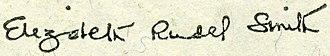 Elizabeth Rudel Smith - Image: Smith, Elizabeth Rudell (engraved signature)