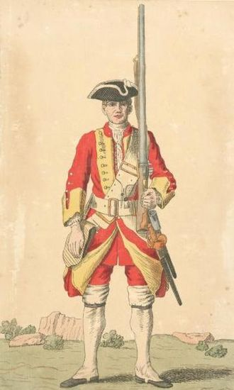 26th (Cameronian) Regiment of Foot - Soldier of 26th regiment, 1742