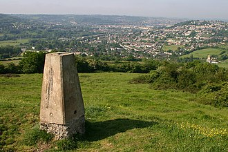 Solsbury Hill - The triangulation station on the top of the hill, with the city of Bath in the distance.