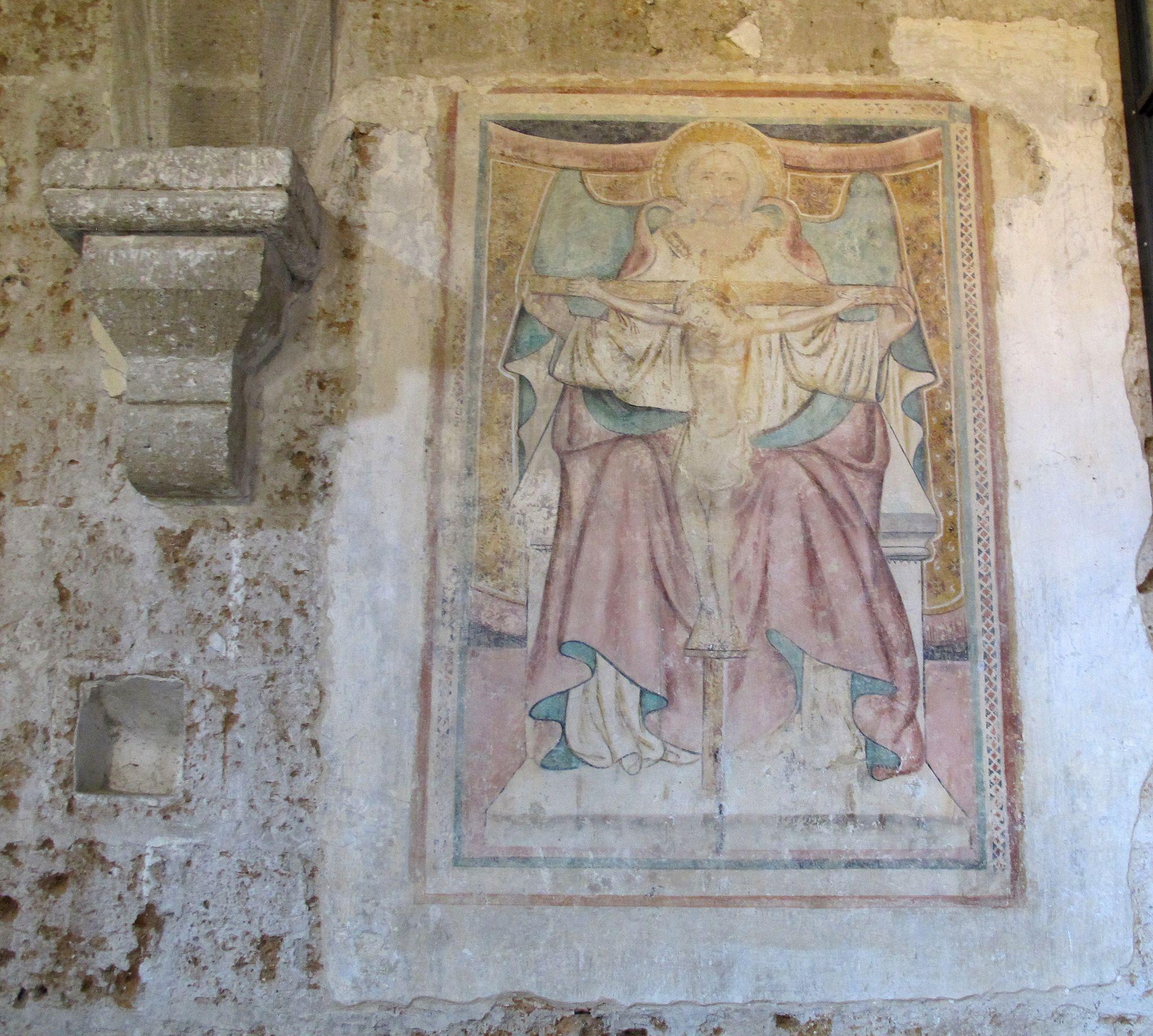 Sovana, chiesa di s. maria maggiore, int, affresco thronum gratiae
