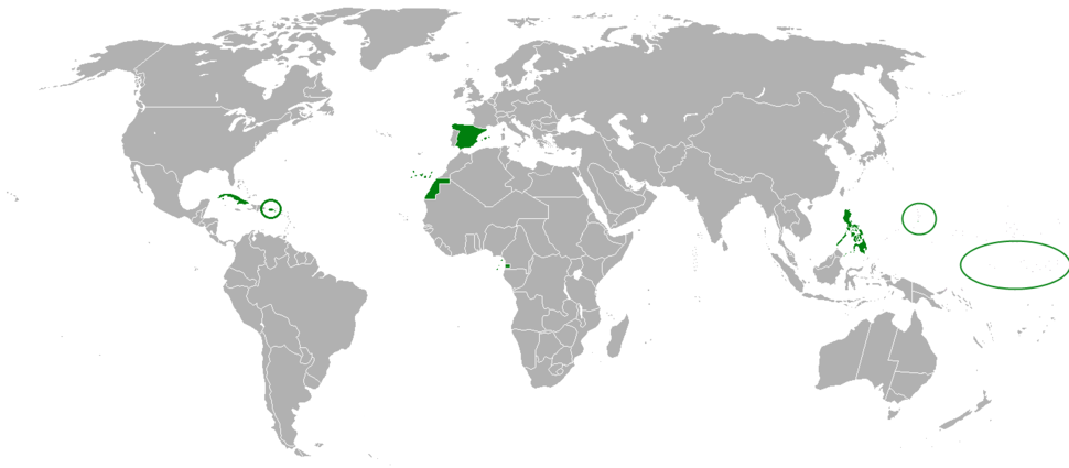 The Kingdom of Spain and its colonies in 1898.