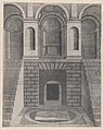Speculum Romanae Magnificentiae- Interior, showing an underground chamber reached by two flights of stairs, one on each side; niches on the landing above. MET DP870083.jpg