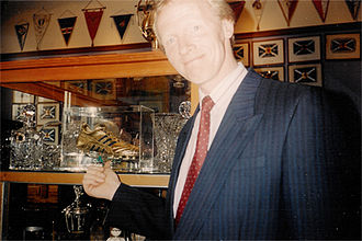 Blackpool F.C. - Derek Spence, here inside Rangers' trophy room in 1994, had two spells at Blackpool.