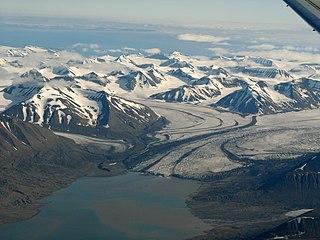Paulabreen glacier at Spitsbergen, Svalbard, Norway