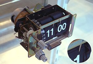 Flip clock wikipedia mechanism of a split flap alarm clock removed from its case the inset shows the metal tab holding back the top flap the narrow numbered wheel and knobs malvernweather Image collections