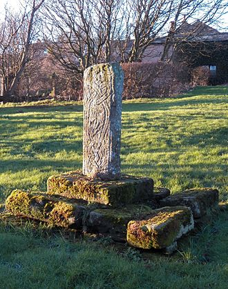 St Bees Priory - The 10th century cross in the graveyard