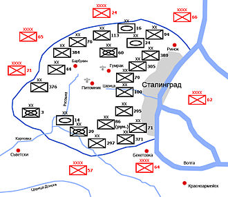 Pitomnik Airfield - Map of the Stalingrad pocket, showing Pitomnik in its centre