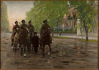 Ujazdów Avenue - Stanisław Masłowski's 1906 painting Wiosna roku 1905 (Spring 1905) depicts Cossacks riding down Ujazdów Avenue.