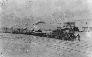 Rathdowney, Queensland - Beaudesert Shire Tramway train at Rathdowney in 1912