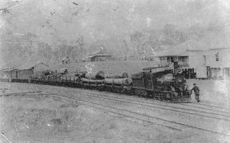 Rathdowney, Queensland - Beaudesert Shire Tramway train at Rathdowney in 1912