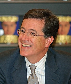 Stephen Colbert in New York City at Border's.