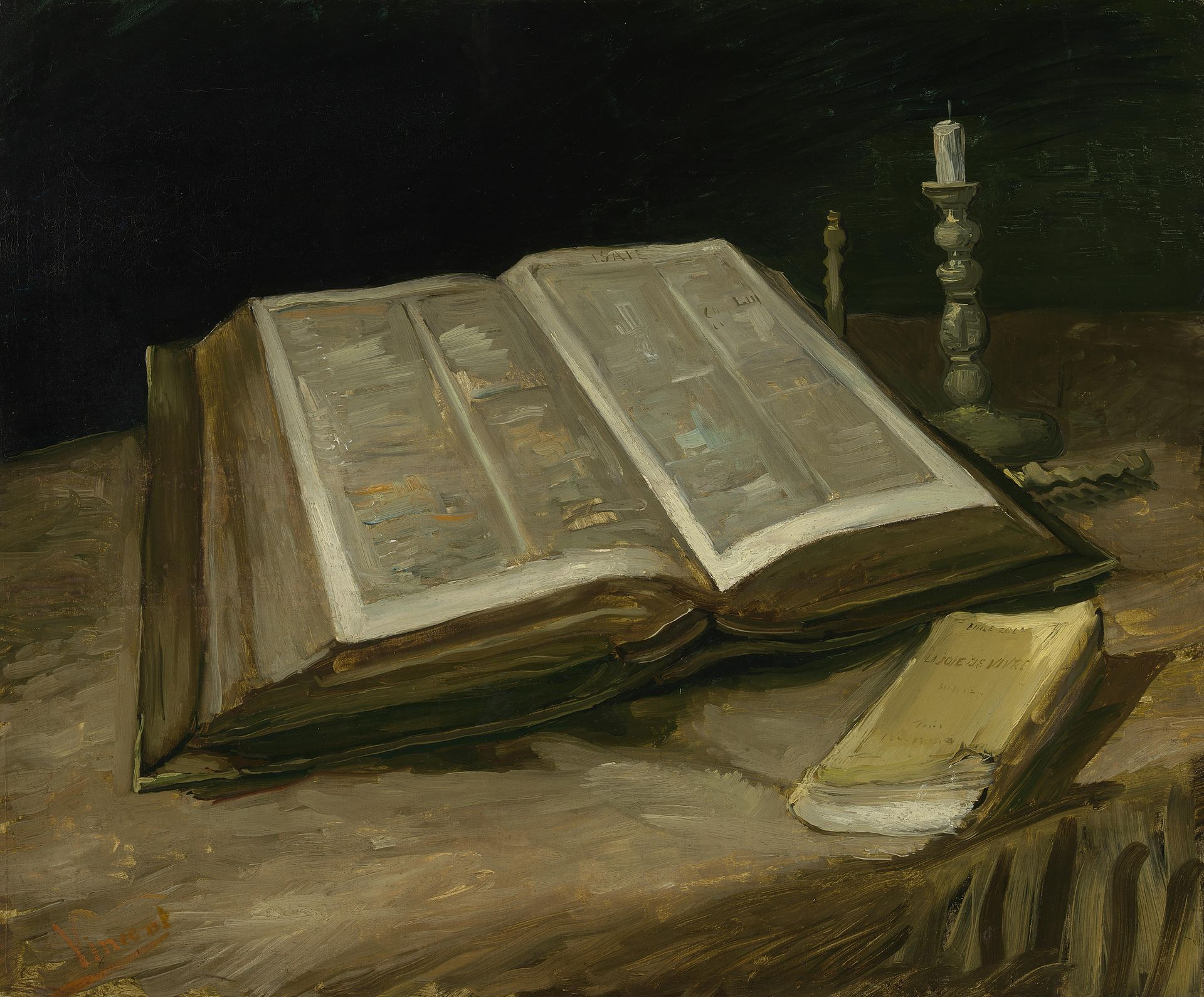 An image of a large opened bible on a table top