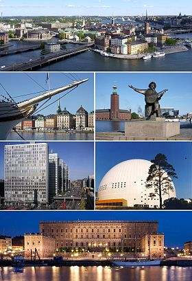 The Old Town, Skeppsbron, Stockholm City Hall, Hötorget buildings, Ericsson Globe and Stockholm Palace.