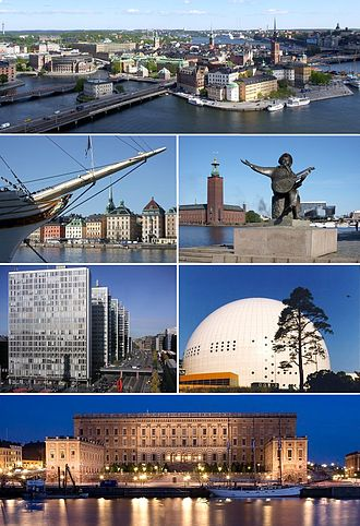 Stockholm - The Old Town, Skeppsbron, Stockholm City Hall, Hötorget buildings, Ericsson Globe and Stockholm Palace.