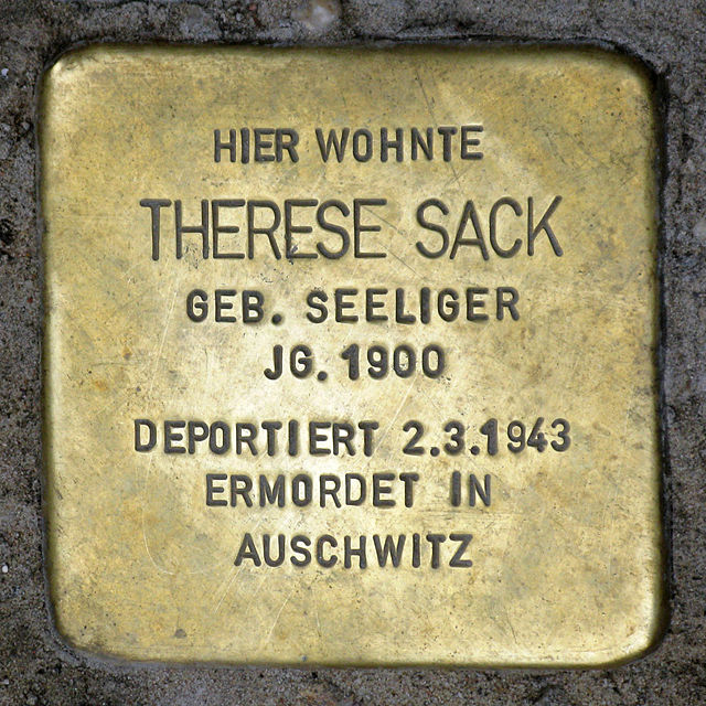 Photo of Therese Sack brass plaque