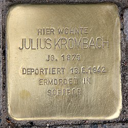 Photo of Julius Krombach brass plaque