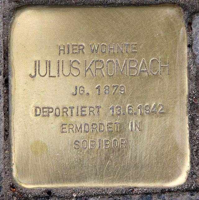Photo of Julius Krombach brass plaque
