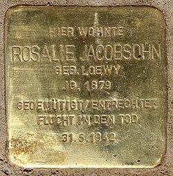 Photo of Rosalie Jacobsohn brass plaque