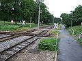 Straßenbahnkreuzung und Haltestelle in Krefeld - Übergänge für Radfahrer und Fußgänger - DSCF1610.JPG