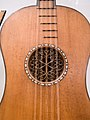 Stradivarius Guitar - 1700, body around rosette, National Music Museum, Vermillion.jpg