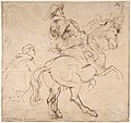 Study for an Equestrian Portrait, Possibly that of Albert de Ligne, Count of Arenberg; verso- Various Studies of Statues and Figures, Including the Venus Pudica and Scipio and his Lictor MET DP802090.jpg