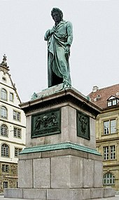 Germany's oldest Schiller memorial (1839) on Schillerplatz, Stuttgart (Source: Wikimedia)