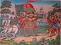 Subhadra, the half sister of Krishna, drives a chariot away from Dwarka with Arjuna and Krishna inside.jpg