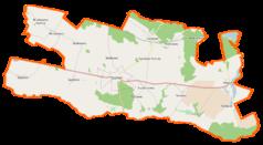 """Mapa konturowa gminy Suchań, po prawej znajduje się punkt z opisem """"Wapnica"""""""