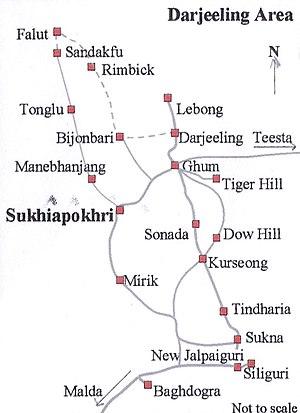 Tiger Hill, Darjeeling - Image: Sukhiapokhri Map