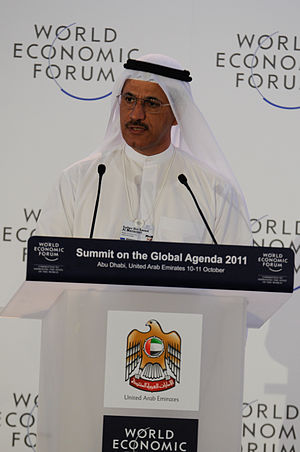 Sultan bin Saeed Al Mansoori - Sultan bin Saeed Al Mansoori at the World Economic Forum's Summit held in Abu Dhabi, October 2011