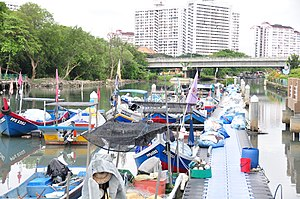 Jelutong, Penang - The Pinang River separates George Town proper to the north and its suburb of Jelutong to the south.