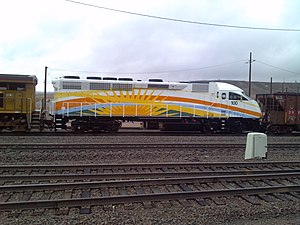 SunRail - An MPI MP32PH-Q locomotive in SunRail livery in September 2013.