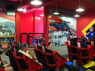 Superman: Ultimate Flight (Six Flags Discovery Kingdom) - Riders boarding Superman: Ultimate Flight at the station