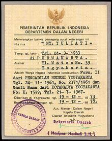 Surat Bukti Kewarganegaraan Republik Indonesia Wikipedia Bahasa