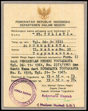 Proof of Citizenship of the Republic of Indonesia - SBKRI from 1973; reverse shows the card-holder's biodata as well as the card's legal basis and validity period