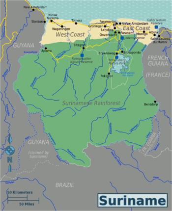 Surinam World Map.Surinamese Rainforest Travel Guide At Wikivoyage
