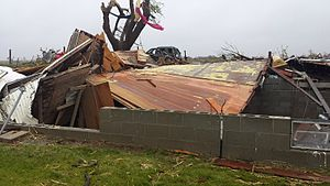 Tornadoes of 2014 - Farmhouse that was leveled by a large EF3 near Sutton, NE.