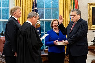 William Barr - Barr is sworn in as Attorney General by Chief Justice John Roberts in 2019