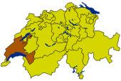 Map of Switzerland highlighting the Canton of Vaud
