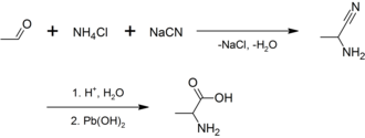 Alanine - Image: Synthesis of alanine 1