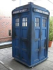 The Mark II fibreglass TARDIS used between 1980 and 1989.