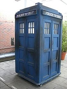 The fibreglass TARDIS prop used between 1980 and 1989.