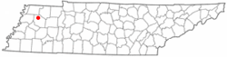 Location of Rutherford, Tennessee