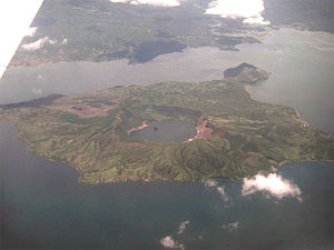 Aerial photo of Taal Volcano, taken on a Cebu ...