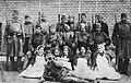 Tableau, First World War, men, women, uniform, weapon, musical instrument, yard, tarboosh, horn, muslim, bayonet, apron Fortepan 32214.jpg