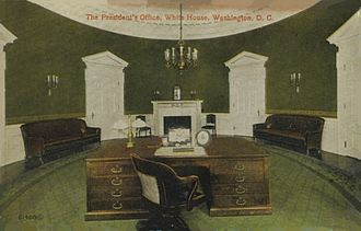 Oval Office - Taft Oval Office, completed 1909. Nearly identical in size to the modern office, it was damaged by fire in 1929 and demolished in 1933.