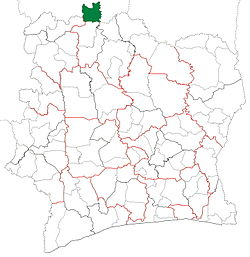 Location in Ivory Coast. Tengréla Department has retained the same boundaries since its creation in 1980.