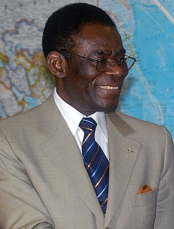 "According to the BBC, President Obiang Nguema ""has been described by rights organisations as one of Africa's most brutal dictators."" Teodoro Obiang detail, 1650FRP051.jpg"