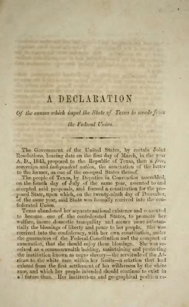 Texas Declaration of Causes of Secession