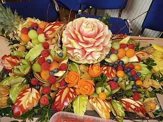 Fruit carving - A platter of Thai fruit carvings